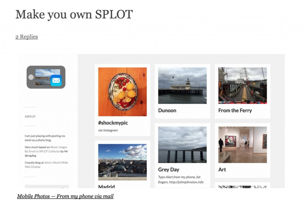 John Johnston builds his own SPLOT to post images by email